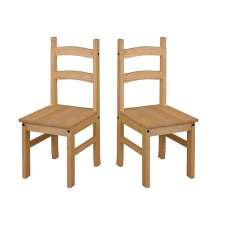 Corina Wooden Dining Chairs In Antique Wax In A Pair