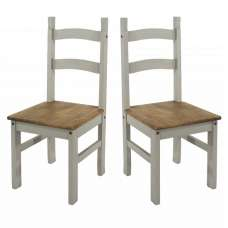 Corina Wooden Dining Chairs In Grey Washed Wax In A Pair