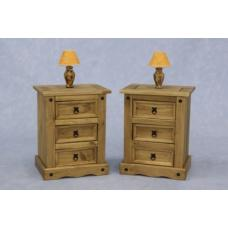 Corona Wooden Bedside Cabinet In Waxed Pine With 3 Drawers