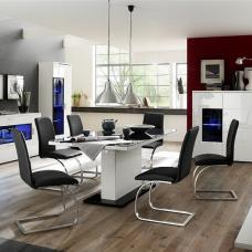 Corona Extendable Glass Dining Table In Black And 6 Maui Chairs