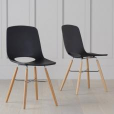 Corrin Dining Chairs In Black With Wooden Legs In A Pair