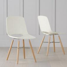 Corrin Dining Chairs In Cream With Wooden Legs In A Pair