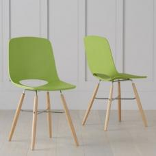 Corrin Dining Chairs In Green With Wooden Legs In A Pair