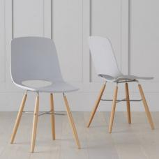 Corrin Dining Chairs In Light Grey With Wooden Legs In A Pair