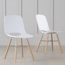 Corrin Dining Chairs In White With Wooden Legs In A Pair