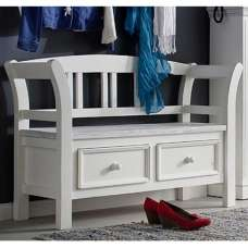 Corrin Trendy Wooden Shoe Bench In White With 2 Drawers