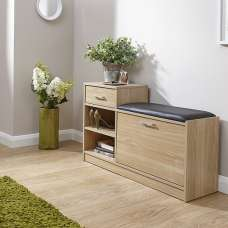 Cortes Shoe Bench In Oak With One Drawer And Open Shelf