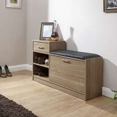 Cortes Shoe Bench In Walnut With One Drawer And Open Shelf