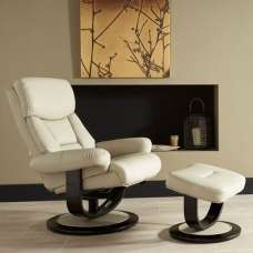 Cortez Recliner Chair In Taupe Bonded Leather With Footstool