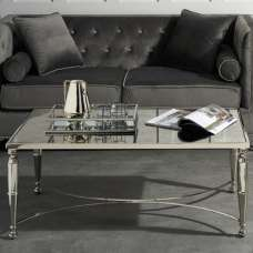 Corum Mirrored Coffee Table In Two Tone With Nickel Finish Frame
