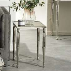 Corum Mirrored Side Table Square In Two Tone And Nickel Finish