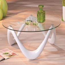 Corum Coffee Table Round In Clear Glass And White High Gloss