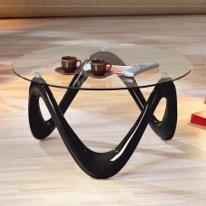 Corum Coffee Table Round In Clear Glass And Black High Gloss