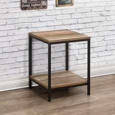 Coruna Wooden Lamp Table In Rustic And Metal Frame