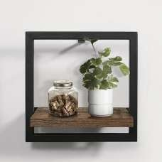 Coruna Small Floating Wall Shelf In Rustic And Metal Frame
