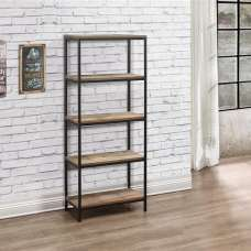 Coruna Wooden Bookcase Tall In Rustic And Metal Frame