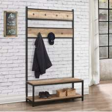 Coruna Wooden Coat Rack And Bench In Rustic And Metal Frame