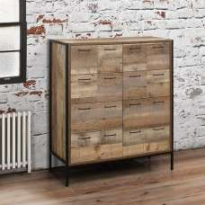 Coruna Wooden Chest Of Drawers Wide In Rustic And Metal Frame