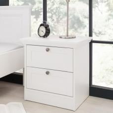 Country Wooden Bedside Cabinet In White With 2 Drawers