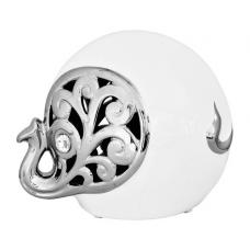 White And Silver Elephant Sculpture With Curled Trunk
