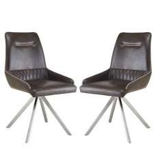 Crate Modern Dining Chair In Woodland Brown Leather In A Pair