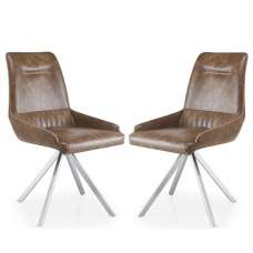 Crate Modern Dining Chair In Warm Earth Leather Match In A Pair