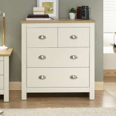 Crick Chest Of Drawers In Cream With Oak Effect Top