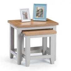 Christie Wooden Nesting Tables In Oak Top And Grey