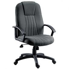 Cromer Home Office Chair In Charcoal Grey Fabric With Castors