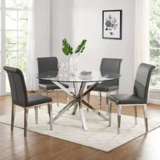 Crossley Round Glass Dining Set With 4 Kirkland Grey Chairs