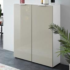 Croydon Shoe Storage Cabinet In White And Silk Grey Gloss Fronts