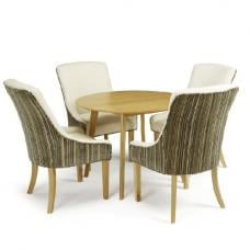 Ruby Dining Table In Oak With 4 Hannah Chair In Aubergine Pearl