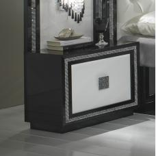 Chloe Bedside Cabinet In Black White Gloss And Crystal Trim