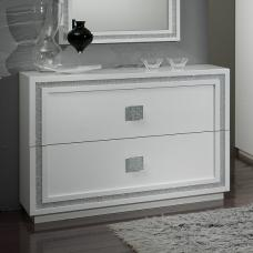 Chloe Chest Of Drawers In White Gloss With Crystal Effect Trim