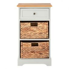 Cullen Wooden Bedside Cabinet In Grey With 2 Drawers