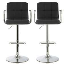 Cyril Contemporary Bar Stool In Black Faux Leather In A Pair
