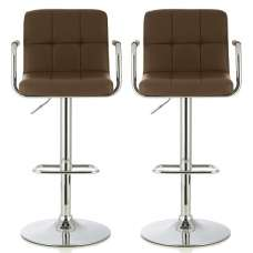 Cyril Bar Stool In Cappuccino Faux Leather In A Pair