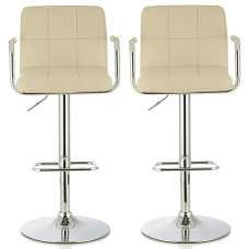 Cyril Contemporary Bar Stool In Cream Faux Leather In A Pair