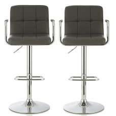 Cyril Contemporary Bar Stool In Grey Faux Leather In A Pair