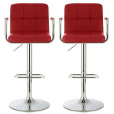 Cyril Contemporary Bar Stool In Red Faux Leather In A Pair