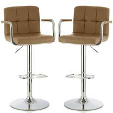 Cyril Contemporary Bar Stool In Taupe Faux Leather In A Pair