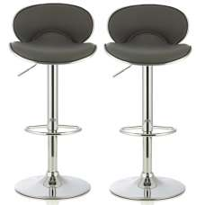 Cyrus Modern Bar Stool In Grey Faux Leather In A Pair