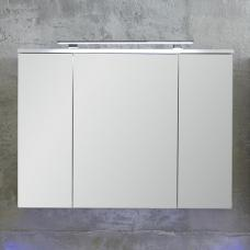 Dale Mirrored Wall Cabinet White High Gloss With 2 Doors And LED