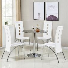 Dante Glass Dining Table In Black With 4 Bellini White Chairs