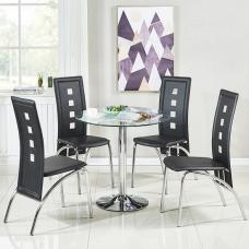 Dante Glass Dining Table In Clear With 4 Bellini Black Chairs