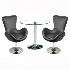 Dante Bistro Set In Clear Glass With 2 Destiny Black Chairs