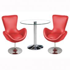 Dante Bistro Set In Clear Glass With 2 Destiny Red Chairs