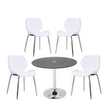 Dante Glass Dining Table In Black With 4 Darcy White Chairs