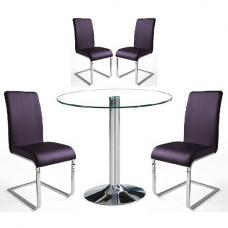 Dante Dining Table In Clear Glass With 4 Lotte Violet Chairs