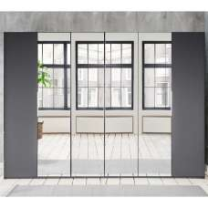 Danzig Mirrored Wardrobe Large In Graphite With 6 Doors